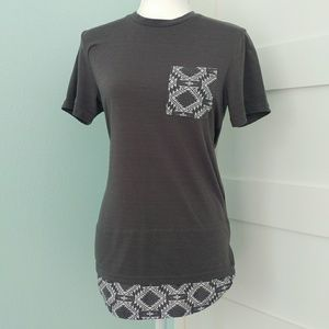 Earthbound Gray Aztec Detail Short Sleeve Tunic